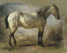 Yanko in the stable a white horse Oil Painting, Wouterus Verschuur Oil Paintings - NiceArtGallery.com