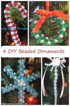 4 DIY beaded ornaments -- Christmas craft