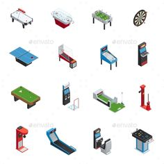 Table Games Game Machine Icon Set - Man-made Objects Objects