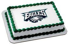 "1/4 Sheet Cake (10""x8"") ~ NFL Philadelphia Eagles Logo Birthday ~ Edible Image Cake Topper! ~ Personalized ~ D509"