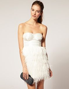 Wedding party dress. ASOS Bandeau Dress With Embellished Bust and Feather Skirt