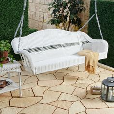 Season after season, you'll enjoy the soothing comfort and charming style of the Casco Bay 3 Seater Wicker Porch Swing - White . White Wicker Patio Furniture, Porch Furniture, Bedroom Furniture, Outdoor Furniture, Outdoor Rooms, Furniture Sets Design, Colorful Furniture, Wicker Porch Swing, Porch Swings