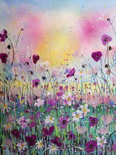 ARTFINDER: A moment lost by Jane Morgan - Lose yourself in this dreamy painting of purple poppies and white daisies, enjoy the sparkle of gold and purple glitter. Carefully packed, insured and tracked.