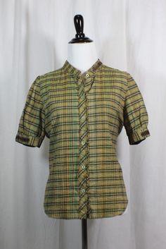 687378264c8f3 Joie Women s Checkered Green 100% Cotton Button Down Blouse L  Joie   ButtonDownShirt