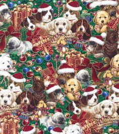 Holiday Inspirations Fabric-Christmas Puppies  Metallic