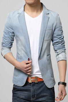 Sky Blue Slim Fit One Button Denim Blazer MR8717