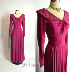 1940's Vintage Fuschia Rayon Crepe Beaded Long Sleeve Floor Length Evening Gown by RubyFayesVintage on Etsy https://www.etsy.com/listing/481232248/1940s-vintage-fuschia-rayon-crepe-beaded