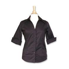 Women's Open Collar Fitted Shirt (3/4 Sleeve)