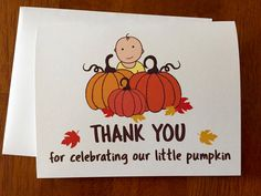 Set of 12 -Fall or Pumpkin Baby Shower Thank You Cards, Baby Shower Thank you Thank You Baby In Pumpkin, Little Pumpkin, Pumpkin Patch Birthday, Baby Shower Thank You Cards, Showers, Snoopy, Parties, Fall, Unique Jewelry