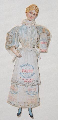 Paper doll, Pillsbury's Best Flour, Pillsbury-Washburn Flour Mills Company, Limited, Minneapolis, Minnesota, circa 1895. Flour Mill, Minneapolis Minnesota, Old Dolls, Pillsbury, Paper Dolls, Collection, Fashion, Moda, Antique Dolls