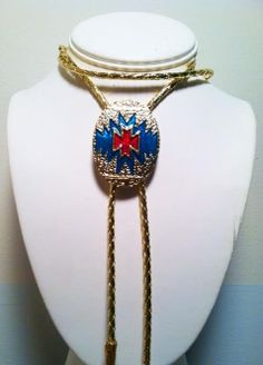 Golden Aztec Bolo by OutOfWorkArtist on Etsy, $37.00