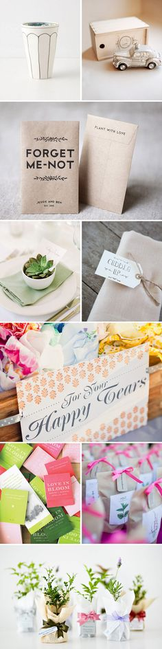 like the idea of giving flower seeds or small plants as favors--so guests have a long-lasting memory of your big day! Cute.