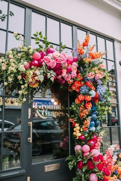 Early Hours Press Workshop held at Grounds & Grapes in London colourful flora. Early Hours Press W Beautiful Bouquet Of Flowers, Wedding Flowers, Bouquet Flowers, Flower Shop Design, Floral Design, Balloon Garland, Balloons, Rainbow Wedding, Faux Flowers