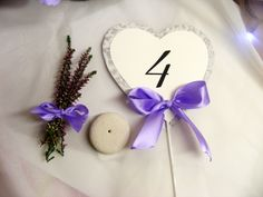 Wedding table number Heart with lace and lavender bow