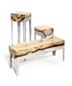 Hilla Shamia, an ingenious Israeli artist and designer, creates beautiful one-of-a-kind wood and molten aluminum desks and stools. Stunning!