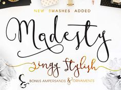 Let me introduce you, my first 2016 font design, Modesty. Modern Fresh Calligraphy font, with extra alternative letters and beautiful ampersand. This font will give beautiful Handwritten Fonts, Calligraphy Fonts, Script Fonts, Typography Fonts, New Fonts, Hand Lettering, Modern Calligraphy, Ampersand Font, Caligraphy
