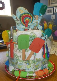Dish towel cake for a wedding shower.