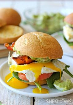 BLTs with fried eggs and guacamole