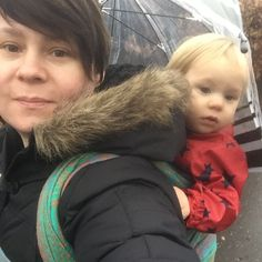Wearing in wet weather! You just need a brolly. We have a see through one so we can still see what is going on. #babywearing #wetweather #closeenoughtokiss #carrythem #babywearingmama #firespiral #teachingwrap #undermyumberella