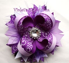 Purple Bow- Purple Hairbow- Luxurious Boutique Bow by Violet's Velvet Box. $8.99, via Etsy.