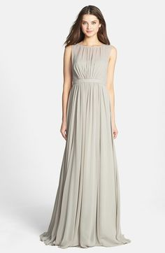 Free shipping and returns on Jenny Yoo 'Vivienne' Pleated Chiffon Gown at Nordstrom.com. Fine pleats gather the sleeveless bodice and release the sweeping skirt of an elegant chiffon gown. The bateau-style illusion yoke is gracefully finished by a refined back V-neckline.