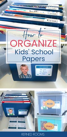 Follow this easy method for organizing and storing kids' school papers and memorabilia and make it easy for your kids to enjoy these school memories. Download a free printable label set to make creating your paper organization system a breeze! #schoolmemories #paperorganization #schoolpapers Organizing School Papers, Kids School Organization, Receipt Organization, Organizing Tips, Life Organization, Homeschool Preschool Curriculum, Organize Kids, Paper Clutter, Family Organizer