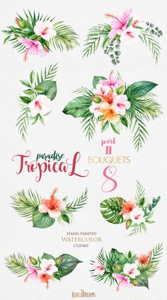 Summer Design Set Tropical in tropical flower drawing Tropical Watercolor Flowers & Leaves Tropic Bouquets Watercolor Quote, Wreath Watercolor, Watercolor Flowers, Watercolor Wedding, Green Watercolor, Watercolor Invitations, Hibiscus Flowers, Tropical Flowers, Floral Flowers