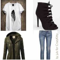 #lookoftheday made by juls for CrazyKitty. From Pureple community. Military inspired balanced with feminine heels! ✨✔ Same look with winter boots on our Snapchat 👻: purepleapp  #military #style #green #howto #wear #feather #print #parka #jacket #laceup #heels #look #details #fashion #khaki #blogger #fashionista #black #pureple #purepleapp #moda #kombin #outfit #inspiration #white #ootd #jeans #denim #street #style #casual #cool #shoes #graphic #tee #sokak #winter