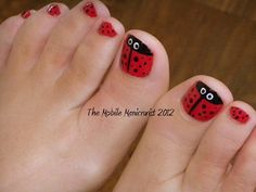 50+ Summer Nail Art Ideas - Lovely Ladybug  We're kind of embarrassed to admit it, but in nature, ladybugs kind of frighten us. But on toes, they're just plain adorable.