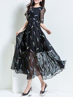 Black Crew Neck Half Sleeve Maxi Dress.