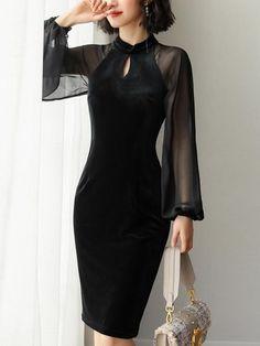 New 2020 Autumn Dress Fashion Velvet dress chiffon lanterns sleeve dress Elegant Outfit, Elegant Dresses, Casual Dresses, Glamour Moda, All Black Dresses, Formal Dresses With Sleeves, Black Velvet Dress, Velvet Dresses, Dress Black