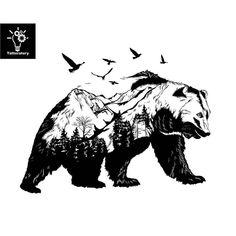 Bear Temporary Tattoo Bear Tattoo Bear Fake Tattoo Black Bear Tattoo Mountain Tattoo Bird Tattoo Tree Tattoo Forest Tattoo Nature Tattoo - You are in the right place about Bear Temporary Tattoo Bear Tattoo Bear Fake Tattoo Black Bear Tatt - Natur Tattoo Arm, Natur Tattoos, Kunst Tattoos, Tattoo Drawings, Wolf Tattoos, Fake Tattoos, Black Tattoos, Body Art Tattoos, Ship Tattoos