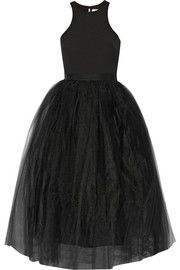 Elizabeth and James Aneko stretch-ponte and tulle midi dress