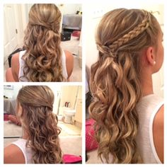 Curly prom hair with braid.