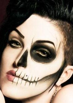 Half Sugar Skull Half Skull Face Paint, Halloween Fun, Halloween Face Makeup, Halloween Costumes, Sugar Skull Makeup, Sugar Skulls, Body Painting Festival, Day Of The Dead Skull, Festival Makeup