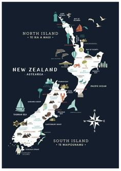 Buy Kiwiana Navy Poster online and save! Remember the smell of Anzac cookies? The squish or sand between your toes, or the crunch of Marmite toast? If BBQ's at the Bach and surfing in the sum. New Zealand Itinerary, New Zealand Travel, New Zealand Art, Adventure Bucket List, Adventure Is Out There, Travel Maps, Places To Travel, Travel Plan, Monuments