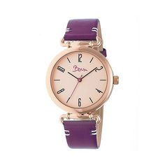 Boum Lumiere Ladies Leather-Band Watch ($70) ❤ liked on Polyvore featuring jewelry, watches, plum purple, leather band watches, purple jewelry, purple watches, animal print jewelry and dial watches