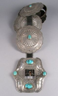 Large vintage concho belt with turquoise