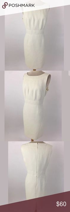 Tahari Arthur S. Levine elegant dress Bust: 42 Waist: 35 Length Shoulder to Hem: 38 99% polyester, 1% metallic. Lined in 100% polyester. Cream with subtle gold shimmer.  Item #1975 Tahari Dresses