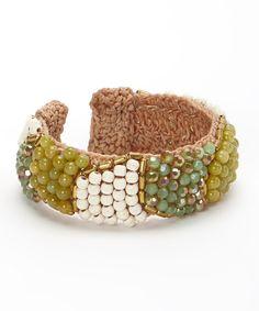 Look what I found on #zulily! White & Green Stone & Crystal Cuff #zulilyfinds