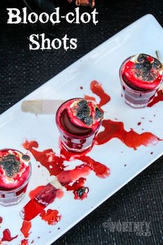 This red Halloween drink may be scary to look at, but with a shot Whiskey, it goes down easy. Our Blood Clot Shots will be a perfect match for your Halloween party, giving it the ultimate Halloween drink to try this year! Halloween Cocktails, Halloween Desserts, Adult Halloween Drinks, Halloween Shots, Halloween Eyeballs, Halloween Treats, Halloween 2020, Halloween Decorations, Halloween Potions