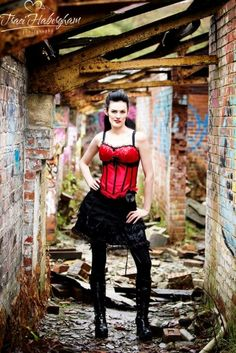 Come with me xxx  Photographer : traci habergham  Hair and makeup : miss cherry sparkles  #misscsparks #mill #bigboots #redcorset #blackshirt #longsocks #blackhair #redlips #idontcare #love #grifftiee