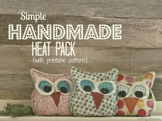 Free Sewing Pattern and Tutorial - Handmade Owl Heat Pack Sewing Projects For Beginners, Diy Projects To Try, Craft Projects, Sewing Patterns Free, Free Sewing, Free Pattern, Sewing Hacks, Sewing Tutorials, Sewing Tips