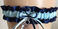 Navy Blue and Blue Wedding Garter, Prom Garter