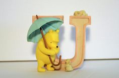 "Classic Winnie the Pooh Piglet Alphabet Letter ""U"" Michel & Co. U for Umbrella, Winnie the Pooh Figurines Disney Vintage Home Decor, Baby Room, Winnie The Pooh, Alphabet, My Etsy Shop, Wall Decor, Lettering, The Originals, Disney Characters"