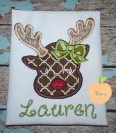 Cute Reindeer Applique Design