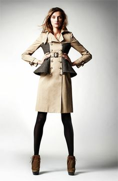 Burberry Prorsum Belted Plaid Peplum Trench Coat | Nordstrom