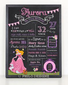 Princess Birthday Chalkboard/ Sleeping beauty by PhiloDesignz, $12.75