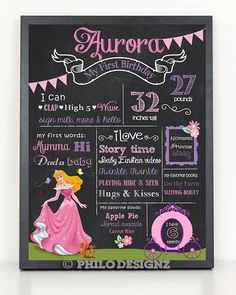 Princess Birthday Chalkboard/ Sleeping beauty by PhiloDesignz, $12.75