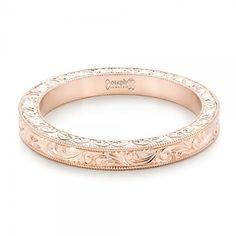 Rose Gold Hand Engraved Wedding Band